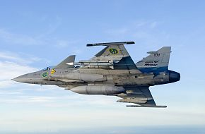JAS 39 Gripen Fighter flies with Meteor Missile