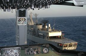 "Frigate ""Aegeon"" Standard class, seen from a AB212 Helicopter Coc"