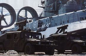2 Hummer with MILAN of Hellenic Army in Fron of a Zubr Hovercraft of Hellen