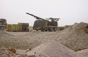 A British Phoenix UAV ready on its launch rail in Iraq.