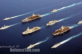 FS Charles De Gaulle leading HMS Ocean and 2 US CVNs