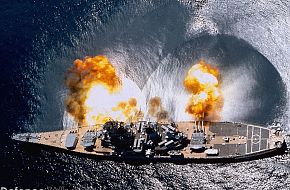 USN Battleship firing - Navy ships wallpapers