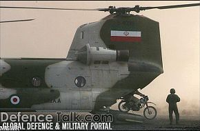 Iranian soldiers leave CH-47 Chinook Helicopter