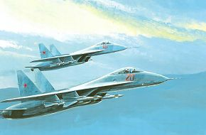 Su-27 FLANKERS in Formation - Military Weapons Art