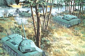 Artillery Supporting River Crossing - Military Weapons Art