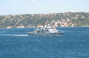 TCG F243 Turkish Navy Frigate passing Istanbul Straits