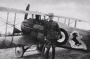 Major BARACCA with his SPAD VII - WWI Italian Cavalry