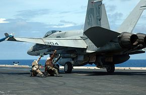 F-18 on USS Kitty Hawk (CV 63) Aircraft Carrier