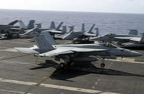 F-18 on USS Kitty Hawk (CV 63) Aircraft Carrier - US Navy