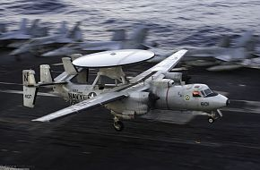 E-2C Hawkeye on USS Kitty Hawk (CV 63) Aircraft Carrier