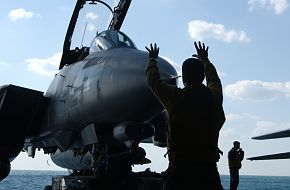 F-14D Tomcat comes out of Hangar Bay - Final Deployment