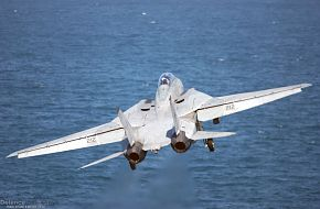 F-14D Tomcat launches from aircraft carrier - Final Deployment