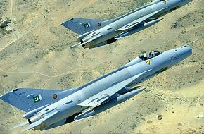 Two pakistani F-7's over a desert!