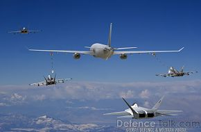 KC-30 refuels F-18 and F-22 Fighters