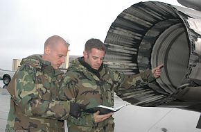 Preflight inspections on an F-16- US Air Force Exercise