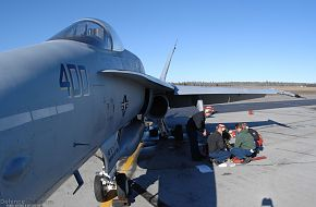 Maintenance on a Navy F/A-18- US Air Force Exercise