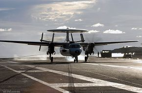 E-2C Hawkeye land on Nimitz-class aircraft carrier
