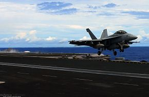F/A-18F Super Hornet takes off from aircraft carrier