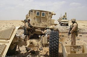 IED destroys USMC Cougar mine resistant vehicle