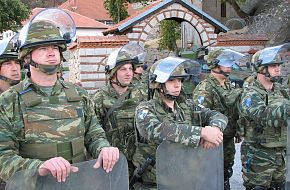 Greek Soldiers defending monastery in Kosovo