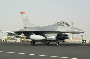 F-16CJ taxi at Al Udeid Air Base
