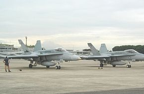 RAAF F/A-18's ready to taxi at Paya Lebar Air Base, Singapore 2002