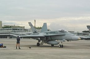 F/A-18 ready to taxi at Paya Lebar Air Base, Singapore 2002