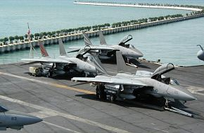 F-14's on USS Kitty Hawk in Singapore 2002