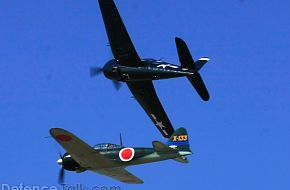 US Navy F6F Hellcat and Japanese Navy Mitsubishi A6M Zero