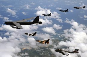 B-52  leads F-2's  and F-16's