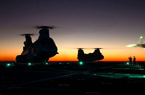 CH-46 Sea Knights on USS Shreveport LPD 12