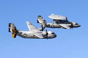 US Navy C-2A and E-2C