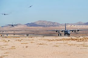 C-130 aircraft landing - Weapons School Mobility Air Forces Exercise
