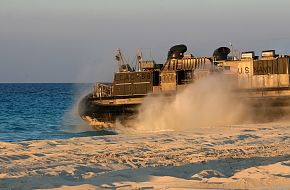 A landing craft, air-cushioned, Assault Craft Unit (ACU)