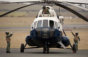 Afghan aircrew prepare for take-off  - Helicopter Training
