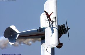 Wing Walker on Stearman Biplane