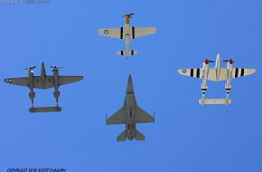 USAF Heritage Flight - P-51 P-38 & F-16 Fighters