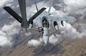 F-18 Hornet refuels from a KC-135 Stratotanker