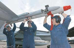 A new ASRAAM missile being fitted to a RAAF F/A-18 HUG