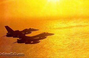 Pakistan Airforce F-16A/B over the Arabian Sea in a golden evening sun (PAF