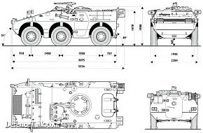 Dimensions and measurements of the Puma 6 x 6 wheeled armoured fighting veh