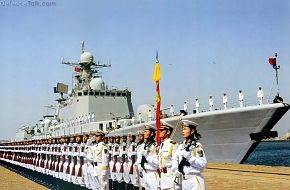 Chinese Sailors and Type 051C Missile Destroyer