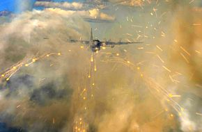 C-130H Hercules deploys flares over Alaska