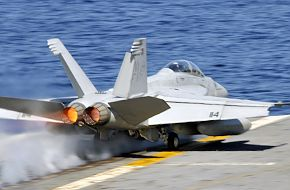 F/A-18F Super Hornet launches from the aircraft carrier