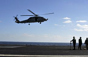 SH-60B Seahawk Helicopter landing on aircraft carrier