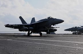 F/A-18 Super Hornet lands on the flight deck
