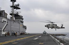 JMSDF SH-60K Sea Hawk helicopter Lands, LHD 2