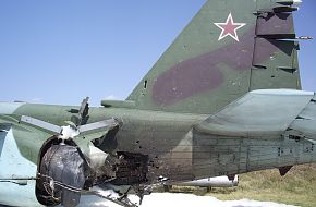 Su-25BM hit by MANPADS over Georgia