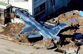 F-2 jet hits building during Japan Tsunami