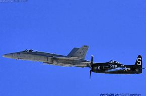 US Navy Legacy Flight -  F/A-18-C Hornet and F8F Bearcat